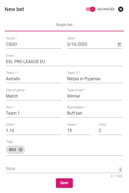 myodds.bet esports bet tracker